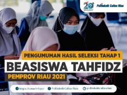 Gambar PENGUMUMAN HASIL SELEKSI WAWANCARA & HAFALAN AL QURAN BEASISWA TAHFIDZ PEMPROV RIAU 2021