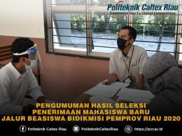 Gambar Pengumuman Hasil Seleksi PMB Jalur Beasiswa Bidikmisi Pemerintah Provinsi Riau 2020